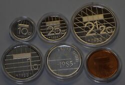 Gn1001 - Netherlands 1983 Coins Proof Mint Set With Silver Medal Kms Niederlande