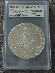 2012 Hawaii Volcanoes Pl Atb 5 Oz. Silver Pcgs Ms69 Signed Mercanti Proof Like