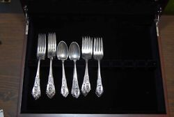 Wallace Rose Point Sterling Silver, 48 Piece Set Plus Chest.