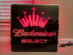 """Vintage Budweiser Select Neon Light Up Beer Sign 23-1/2"""" X 23-1/2"""" X 3"""""""