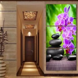 Flowers Stones Spa Scenery 3 Pieces Canvas Print Wall Art Poster Home Decoration