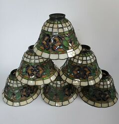 6 Vintage Style Hanging Lead Stained Glass Ceiling Fan Light Lamp Shades