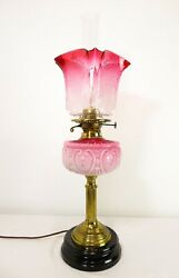 Antique Victorian Oil Lamp Electrified Acid Etched Cranberry Ruffle Shade And Font