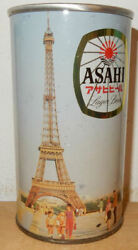 Asahi Eiffel Tower Straight Steel Beer Can From Japan 35cl Empty