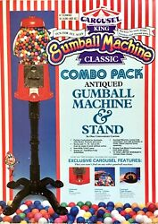 Vintage 1993 Carousel King Classic Gumball Candy Machine And Stand Glass Globe Nos