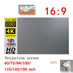 60-150 Projector Screen Curtain Anti-light Home Outdoor Office Portable 3d Ha