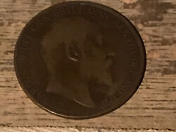 1902 Great Britain Edward Vii - One Penny Bronze Coin Free Shipping