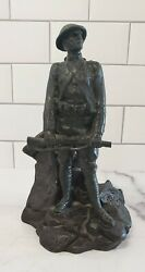 Vintage Ww1 Army Soldier Pot Metal 10 Inches Tall