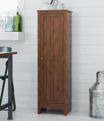 Rustic Storage Cabinet Bathroom Laundry Kitchen Cupboard Pantry Brown Wood New