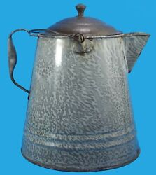 Large Antique Graniteware Cowboy Camp Coffee Pot Great Condition