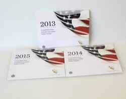 2013-2015 Us Mint Annual Uncirculated Dollar Coin Sets Burnished Silver Eagle