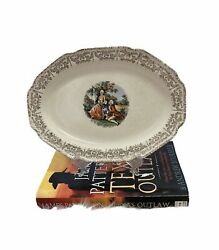 White China Platter 22k Gold Colonial Couple