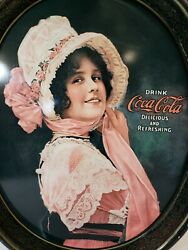 Vintage Oval Coca Cola Betty Girl Advertising Metal Tray Retro 1972 Cool