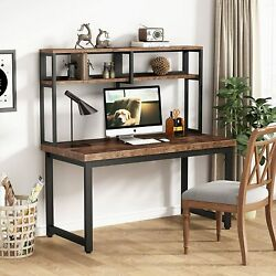 Tribesigns Solid Pine Computer Desk With Hutch 55 Rustic Office Desk -brown