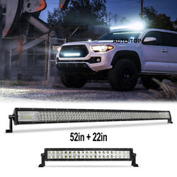 52inch + 22'' Led Light Bar Combo Offroad Driving Work For Jeep 4wd Suv Atv Boat