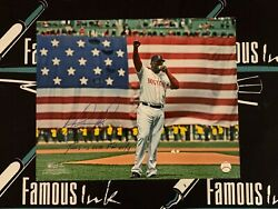 David Ortiz Signed Red Sox 16x20 Flag Photo W/our F'n City Insc Beckett Witness