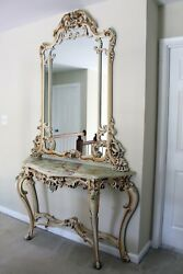 Silik Italian Rococo Large Antique White Mirror And Marble Top Console Table