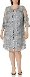 Alex Evenings Womenand039s Plus Size Midi Scoop Neck Shift Dress With Jacket