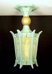 Antique Victorian Gothic Cast Iron Stained Glass Porch Light Fixture Restored