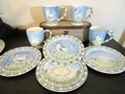 Set Of 4 Egg To Chicken Rooster Coffee Mug And Plates Home Decorative