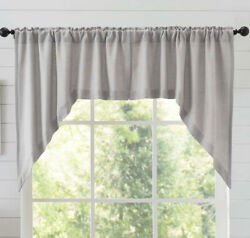 New French Country Farmhouse Shabby Gray Burlap Cafe Swags Curtain 36 Long