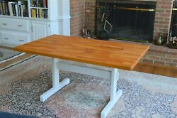 Stunning Butcher Block Multiuse Dining Kitchen Hobby Accent Table Euc