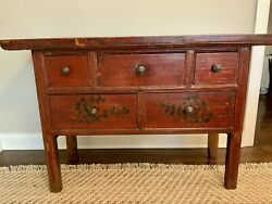 Vintage Hand-painted Chinese Console Chest Of Drawers From Lillian August