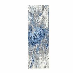 2and0397x8and039 Denim Blue Abstract Design Wool And Silk Hand Knotted Runner Rug G62881