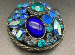 Weiss Signed Vintage Green Blue Faceted Cabochon Crystals Pin Brooch Rare
