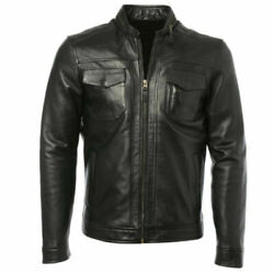 Menand039s Biker Jacket Motorcycle Waxed Real Leather Retro Casual Masculine Design