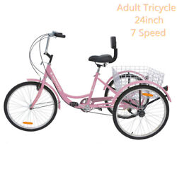 Women Pink Tricycle Adult 24and039and039 3wheels Bicycle 7speed Trike Bike W/basket+bells