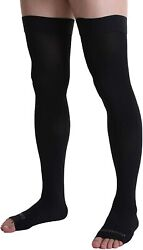 Doc Miller Thigh High Open Toe Compression Hose 20-30 Mmhg Opaque Stockings