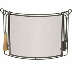 Pilgrim Bowed Fireplace Screen With Tools - Vintage Iron - 48w X 36h X 6 1/2d