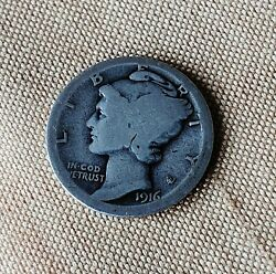 1916-d Mercury Silver Dime Winged Liberty Historic Scarce Date Coin
