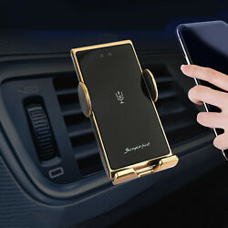 R5 10w Qi Wireless Charger Car Charging Dock Automatically Clamp Bracket Gold F1