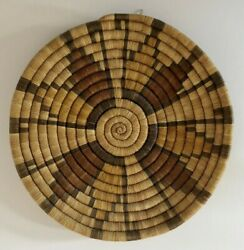 """Hopi Basket Coiled Woven Plaque – Hopi Second Mesa 12 ¼ """" Round, Weaver Unknown"""