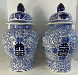 Pair 2 Double Happiness Chinese Blue And White Temple Jars 17 1/4andrdquo X 10andrdquo