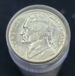 1945-p Jefferson Silver Wartime Nickel Bu Roll 40 Coins Total Ms Unc