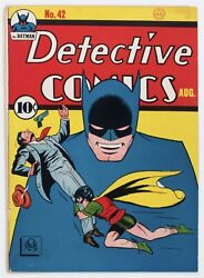 Detective Comics 42 1940 Early Batman Cover And Batman Story Only - Off White
