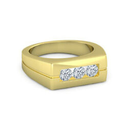 Round Cut 0.30 Carat Mens Diamond Ring Solid 14k Yellow Gold Band Size 5 6 7 8 9