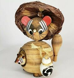 Vintage Kokeshi Mouse Baby Figure Artisr Signed Asian Straw Hat Wood Sculpture