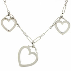 And Co. Hearts Necklace 18k White Gold Knurled Figaro Link 16