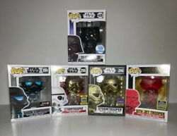 Funko Pop Star Wars Lot Of 5 Darth Vader Fist Pose 428 And Stormtrooper Exclsvs