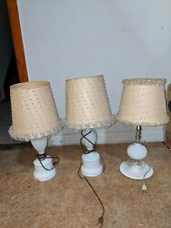 Three Vintage Hobnail Milk Glass Table Lamps Tested And Working