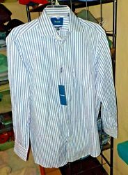 Mens Faconnable Classic Shirt Blue White Stripes 39 Neck 15.5 Sleeve Nwt 195