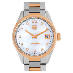 Tag Heuer Carrera War1352.bd0779 18k Rose Gold And Stainless Steel Mother Of...
