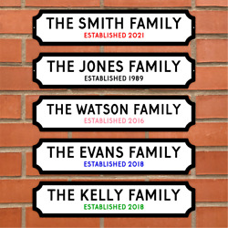 Personalised Surname Sign On Metal Street Plaque Door Wall Railway Family Gift