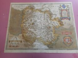 100 Original Large Herefordshire Map By Christopher Saxton C1577 Scarce