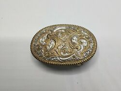 Vintage Crumrine Belt Buckle 3 X 2 Ornate Swirl Made In Usa Heavy Silver Plate