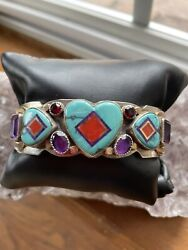 Aldrich Stunning Turquoise And Multi Inlay Stones Sterling And Gold Cuff Brac. Euc